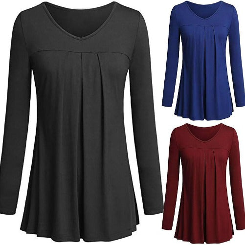 Tunic Pleated Top (All 3 colors) | Kwikibuy Amazon Global | United States | All | Women | Top | Tunic | Pleated | Blouse | long-sleeve