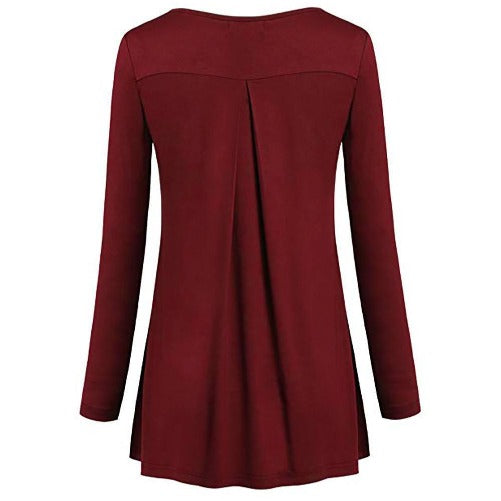Tunic Pleated Top (Red) | Kwikibuy Amazon Global | United States | All | Women | Top | Tunic | Pleated | Blouse | long-sleeve