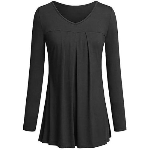 Tunic Pleated Top (Black) | Kwikibuy Amazon Global | United States | All | Women | Top | Tunic | Pleated | Blouse | long-sleeve