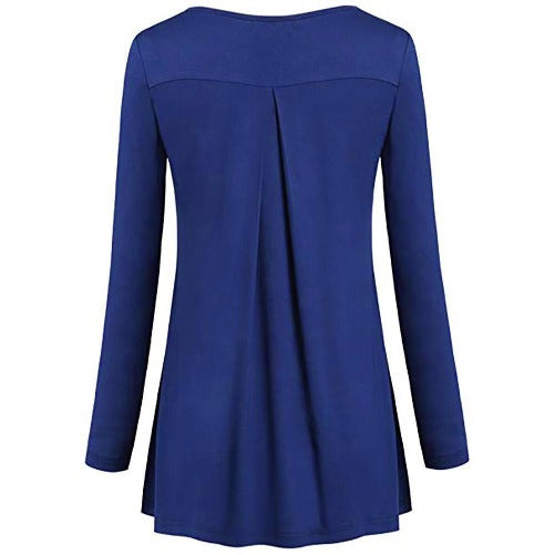 Tunic Pleated Top (Blue) | Kwikibuy Amazon Global | United States | All | Women | Top | Tunic | Pleated | Blouse | long-sleeve