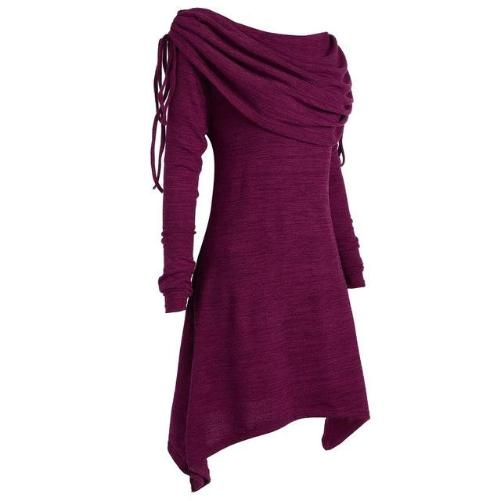 Tunic Fold-over Collar Top (Purple) | Kwikibuy Amazon Global | United States | All | Women | Tunic | Casual | Blouse | long-sleeve