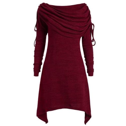 Tunic Fold-over Collar Top (Burgundy) | Kwikibuy Amazon Global | United States | All | Women | Tunic | Casual | Blouse | long-sleeve