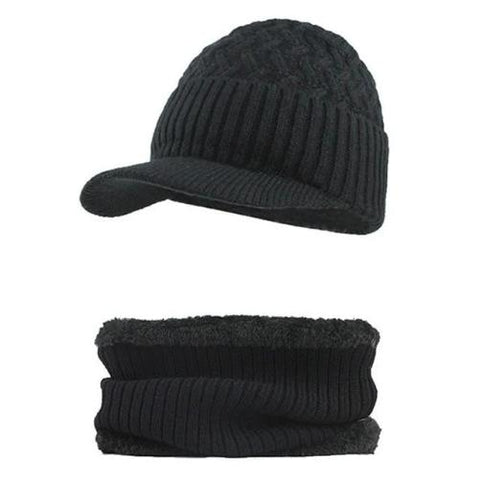 Knitted Hat with Collar Scarf Set (Black) Kwikibuy Amazon Global | Men | Wool | Hat | Cap | Scarf | Outerwear
