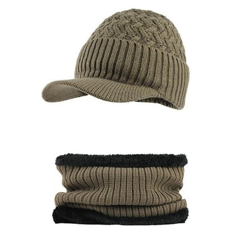 Knitted Hat with Collar Scarf Set (Khaki) Kwikibuy Amazon Global | Men | Wool | Hat | Cap | Scarf | Outerwear