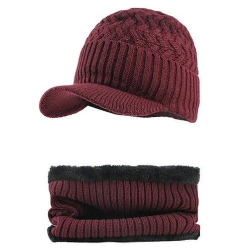 Knitted Hat with Collar Scarf Set (Burgundy) Kwikibuy Amazon Global | Men | Wool | Hat | Cap | Scarf | Outerwear