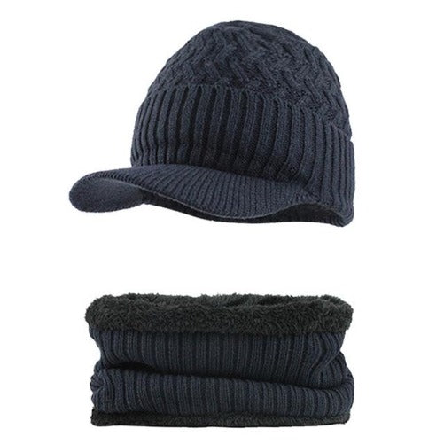 Knitted Hat with Collar Scarf Set (Navy Blue) Kwikibuy Amazon Global | Men | Wool | Hat | Cap | Scarf | Outerwear
