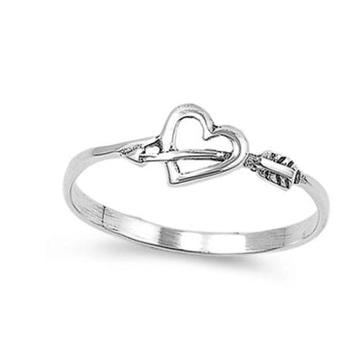 🍀 Arrow Through Heart Ring Solid 925 Sterling Silver *7) Sizes)  - Kwikibuy Amazon Global