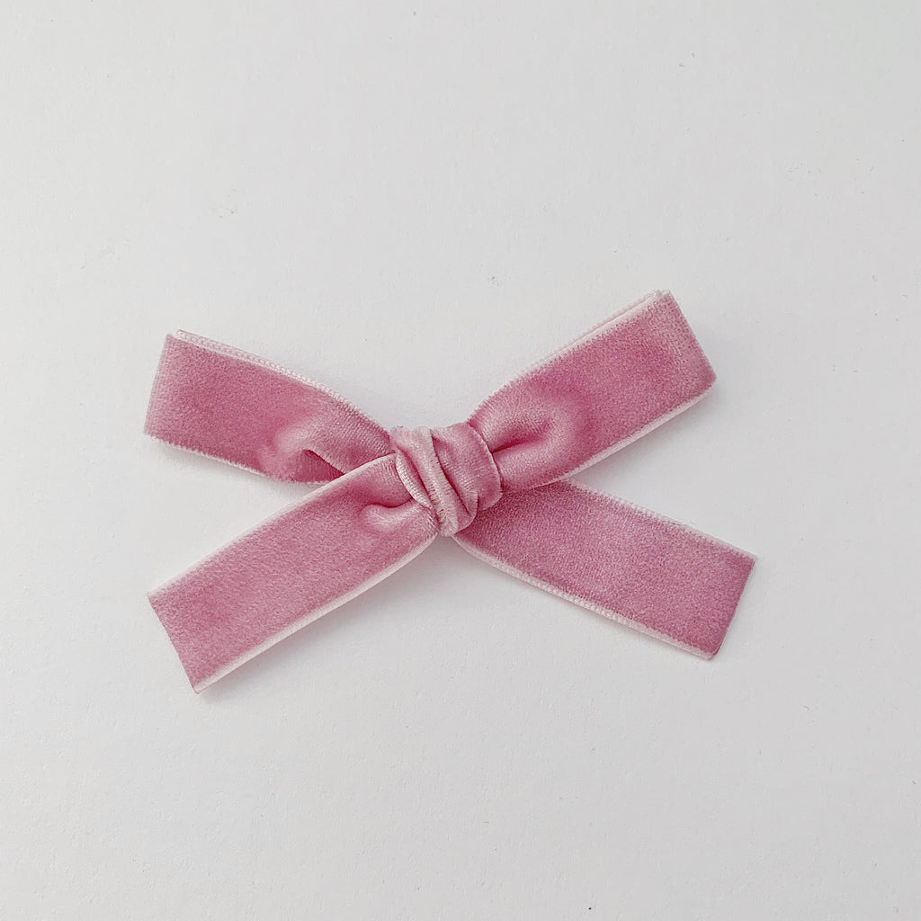 MINI BUBBLEGUM VELVET BOW
