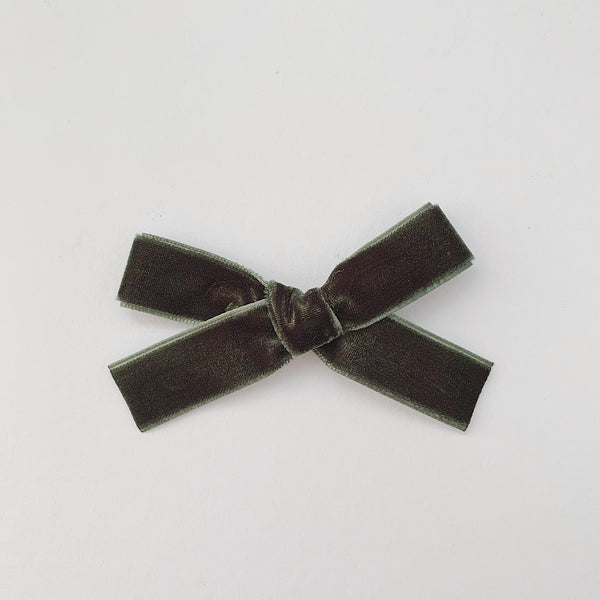 MINI FOREST GREEN VELVET BOW