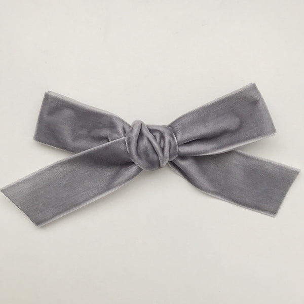 LUXE GREY VELVET BOW