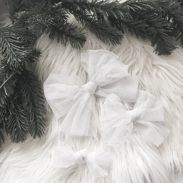 CHRISTMAS GLITTER TULLE BOWS