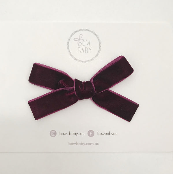 MINI BURGUNDY VELVET BOW