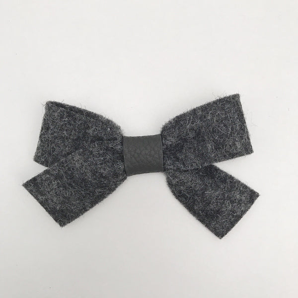 HEATHER CHARCOAL LUXE FELT BOW