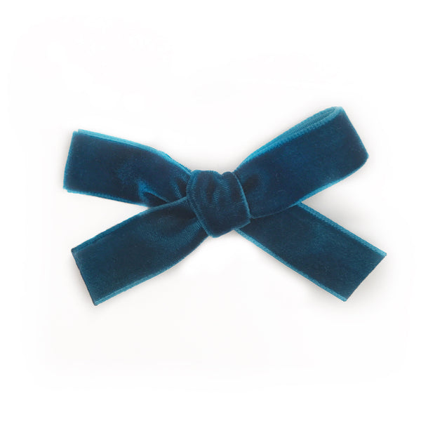 MINI TEAL VELVET BOW