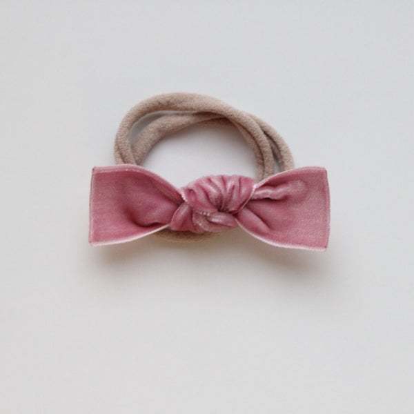 DUSTY ROSE KNOT VELVET BOW