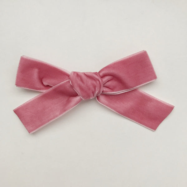 LUXE DUSTY ROSE VELVET BOW