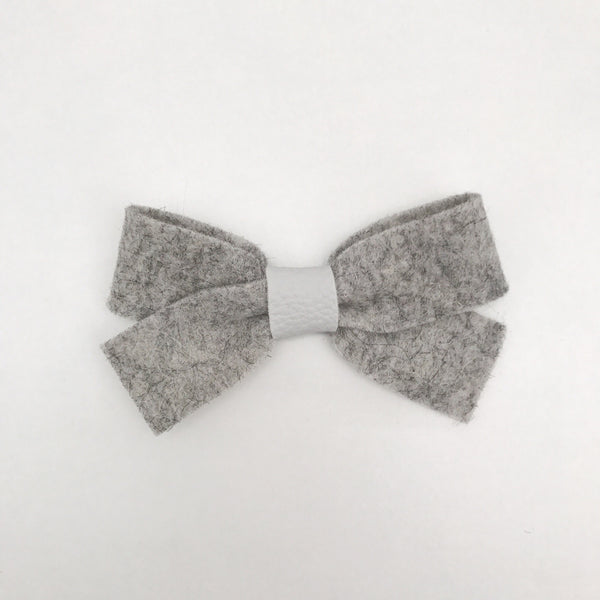 HEATHER GREY LUXE FELT BOW