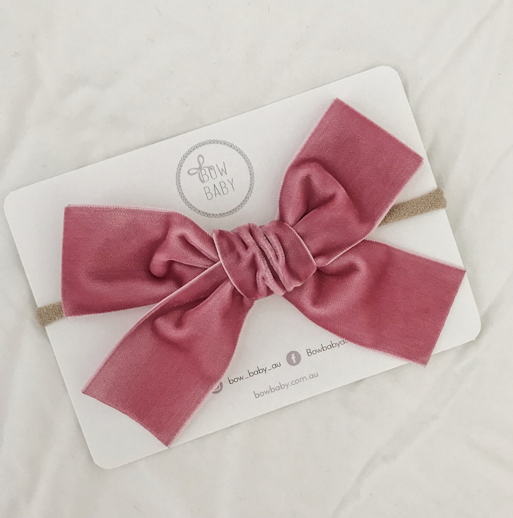 Big Bow Dusty Rose Velvet