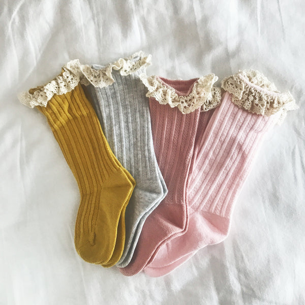 Crochet Lace Knee High Socks