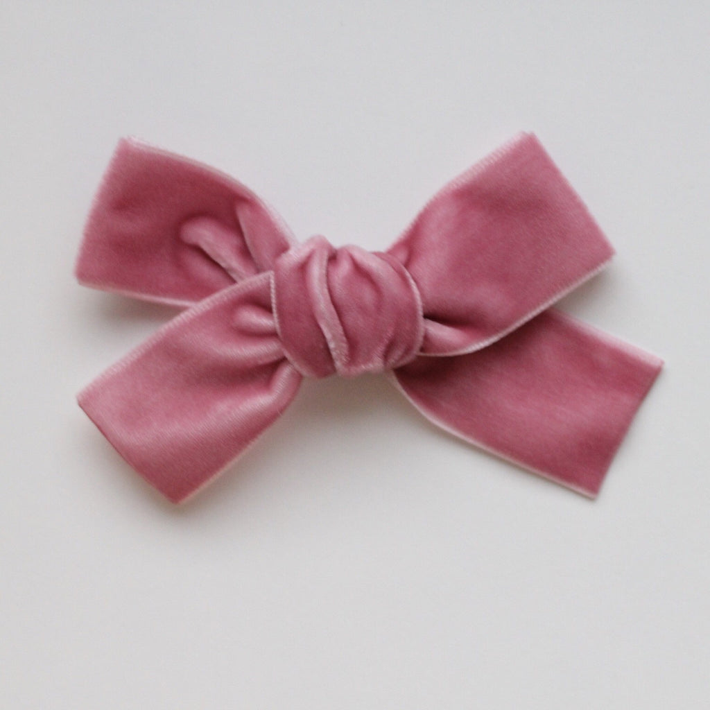 LUXE MINI DUSTY ROSE VELVET BOW