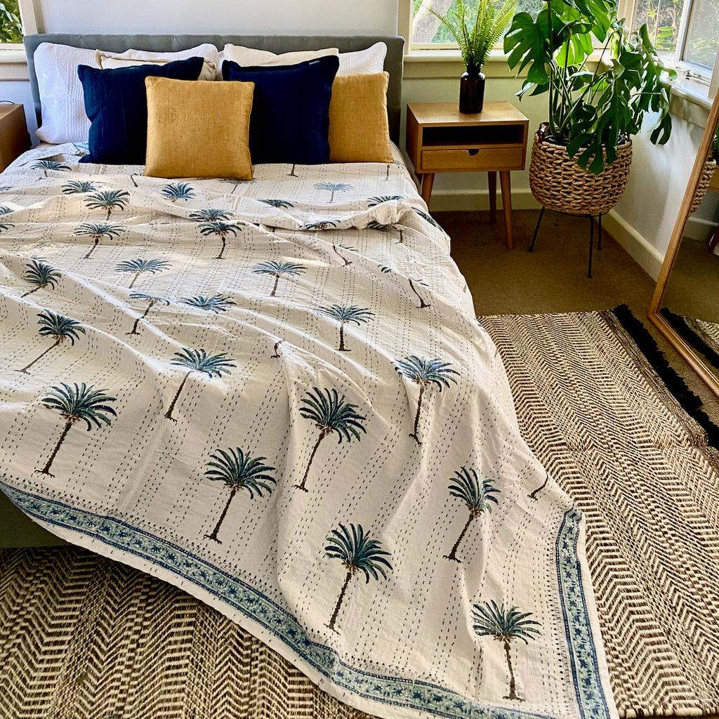AZKA BLUE Boho Palm Trees Kantha Quilt