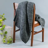 Bernard Garter Knit Charcoal Chunky Wool-Acrylic Throw-Throws-TheHomeDream