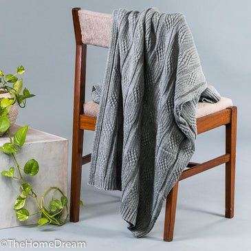 Braxton Broad Cable Medium Grey Mélange Cotton Throw