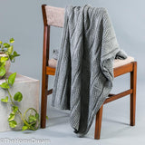 Braxton Broad Cable Medium Grey Mélange Cotton Throw-Throws-TheHomeDream