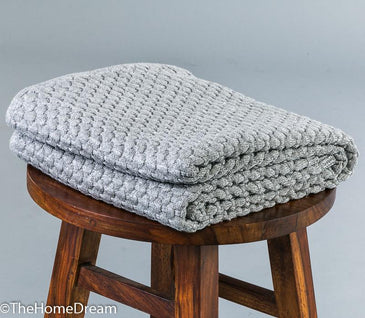 Dana Bubble Knit Chunky Cotton Throw with Lurex