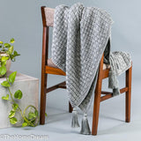Diandra Basket Weave Grey Mélange Chunky Throw With Tassels-Throws-TheHomeDream