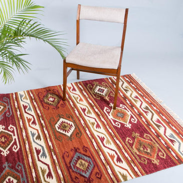 Zahara Handwoven Indian Kilim Rug