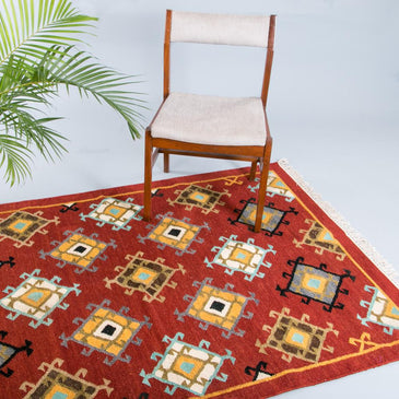 Sahar Blue Handwoven Indian Kilim Rug