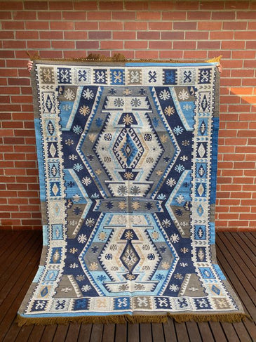 Dakota Blue - Handwoven Indian Kilim Rug