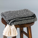 Marlene Dark Grey Mini-Check Cotton Knitted Throw with Tassels-Throws-TheHomeDream