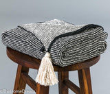 Marlene Dark Grey Mini-Check Cotton Knitted Throw with Tassels