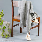 Marlene Light Grey Mini-Check Cotton Knitted Throw with Tassels-Throws-TheHomeDream