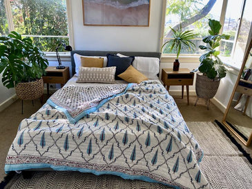 NARGIS Quilted Hand Block Printed Kantha Quilt