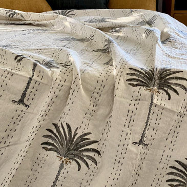 AZKA GREY Boho Palm Trees Kantha Quilt