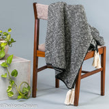 Rufus Mini-Chevron Charcoal-Natural Chunky Cotton Throw With Tassels-Throws-TheHomeDream
