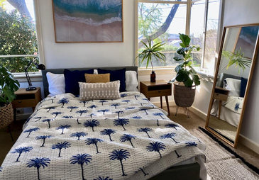 SAIRA Boho Palm Trees Quilted Hand Block Printed Kantha Quilt