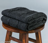 Sloane Medium Cable Seed Stitch Charcoal Cotton Throw