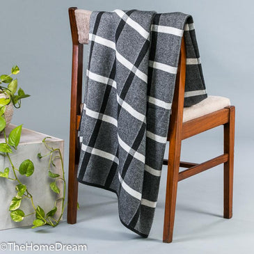 Wilson Window-Pane Textured Charcoal-Ivory Throw