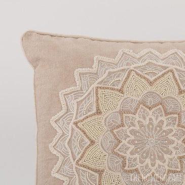 Daphne Chambray Handmade Embroidered Cushion Cover