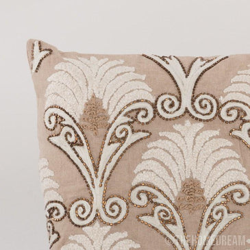 Deja Chambray Handmade Embroidered Cushion Cover