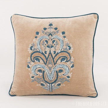 Sidney Velvet Handmade Applique Embroidered Cushion Cover