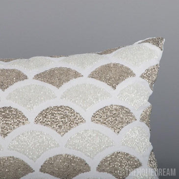 Valencia Scallop Handmade Beaded Cushion Cover