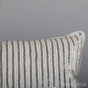 Vera Mini Stripe Handmade Beadwork Lumbar Pillow Cover