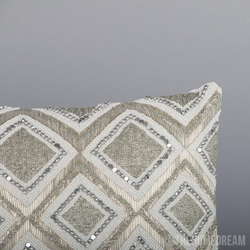 Verda Diamond Handmade Beadwork Lumbar Pillow Cover