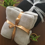 Luxurious Cotton Chunky SEED STITCH KNITTED THROW BLANKET 180x130cm