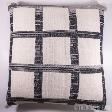 CHEQUERED Black & Grey Knitted Cotton Square Cushion Cover